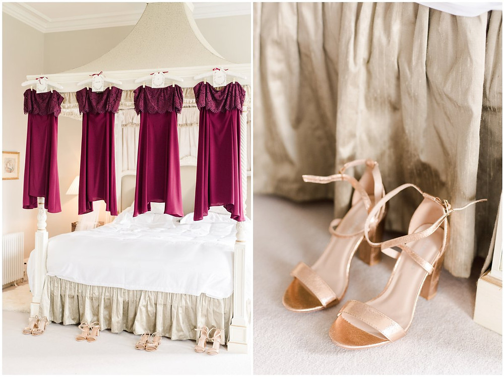 Red bridesmaid dresses and gold shoes for a North Cadbury Court Somerset wedding
