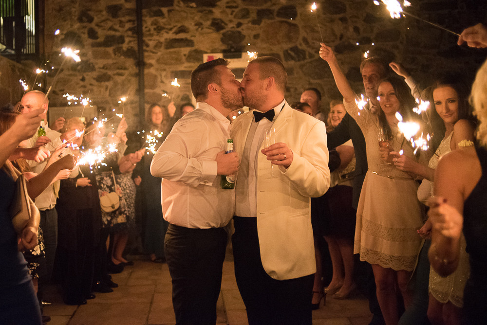 sparkler wedding shot The Outbuildings Anglesey