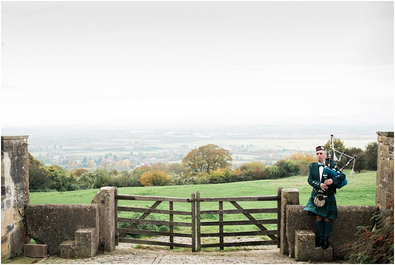 bagpiper at Hilles House Cotswolds wedding venue