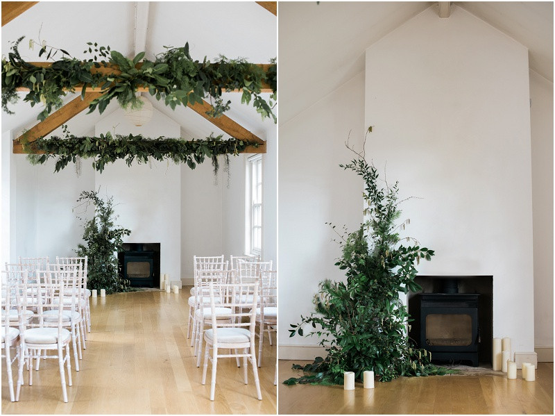 Cotswolds marquee wedding venue white simplicity fine art foliage filled boho wedding