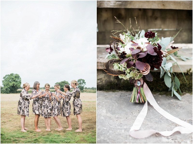 Bridesmaids getting ready for Blackwell Grange wedding and beautiful bouquet by Cotswolds wedding photographer