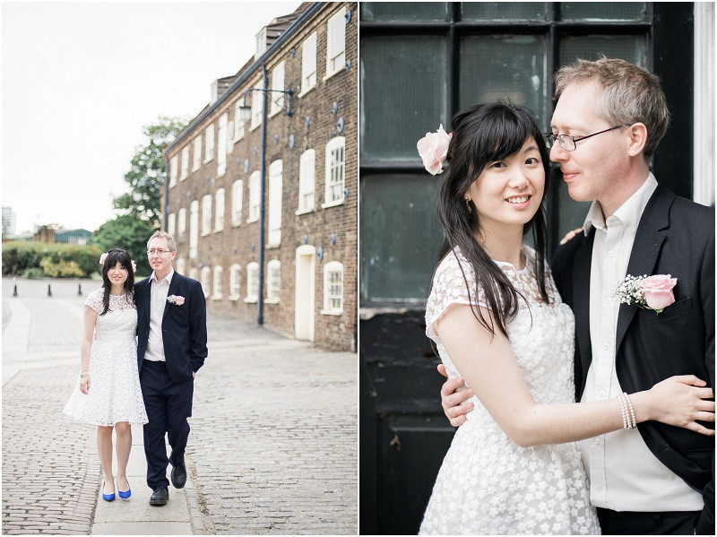 Bride and groom on cobbled streets outside The House MIll London