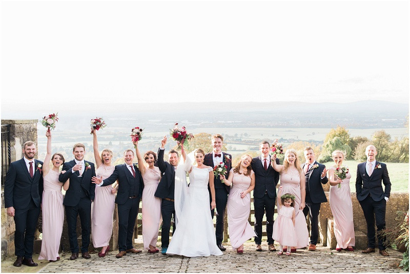 relaxed wedding party at boho Autumn wedding Hilles House Cotswolds