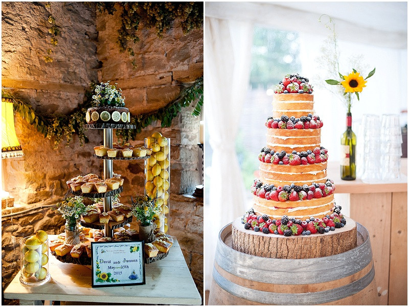 lemon drizzle cake and a naked wedding cake with fresh berries and a homemade cake stand