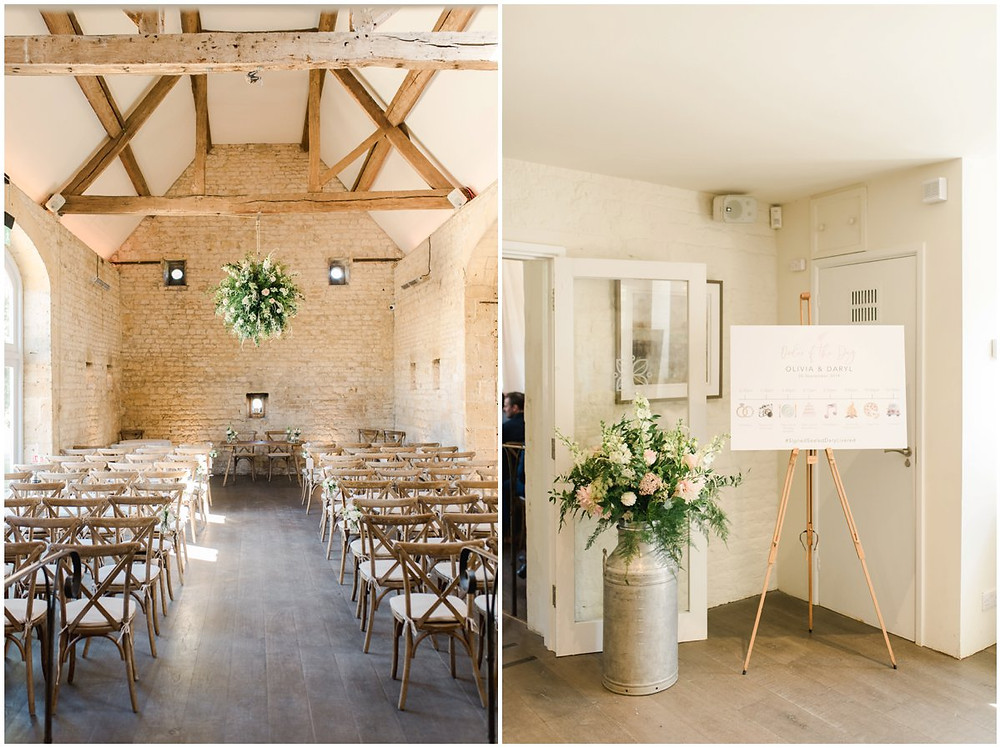 Cotswolds wedding venue Lapstone Barn ceremony room with rustic cross back chairs and flower installation