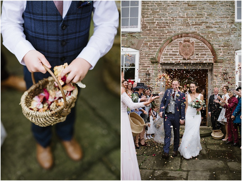 An Autumn wedding at Dewsall Court with Cymbeline Paris dress and Ted Baker navy suit confetti