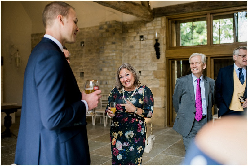 Wedding guests at Blackwell Grange Cotswolds wedding venue by Gloucestershire wedding photographer