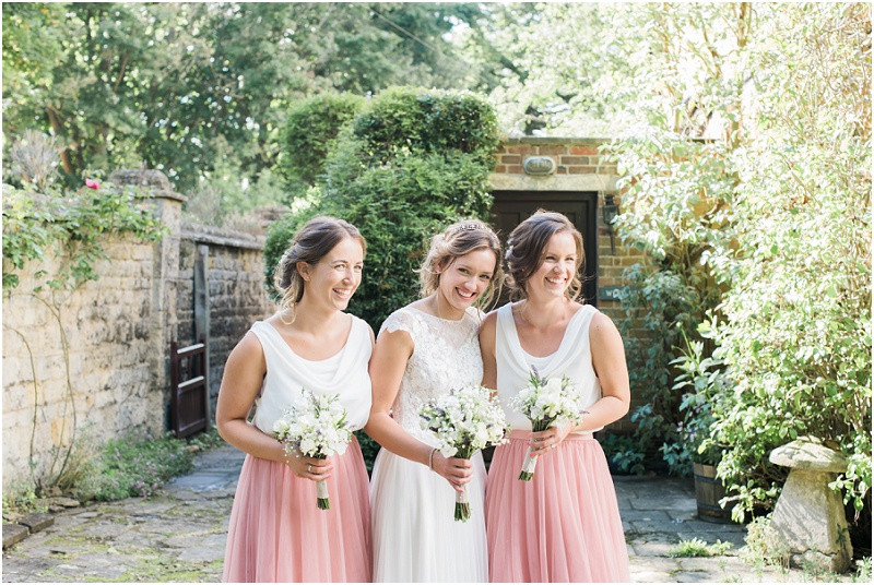 Cotswolds marquee wedding Oxford bridesmaids in two piece