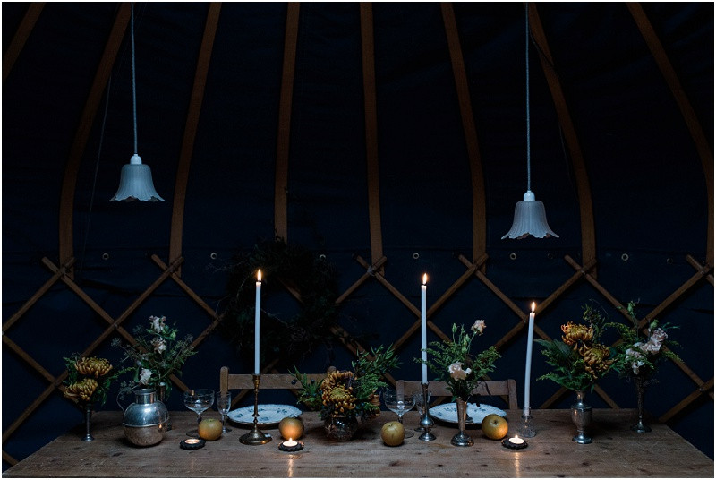 Winter Cotswolds winter wedding styling with wedding yurtswith a navy and copper colour theme