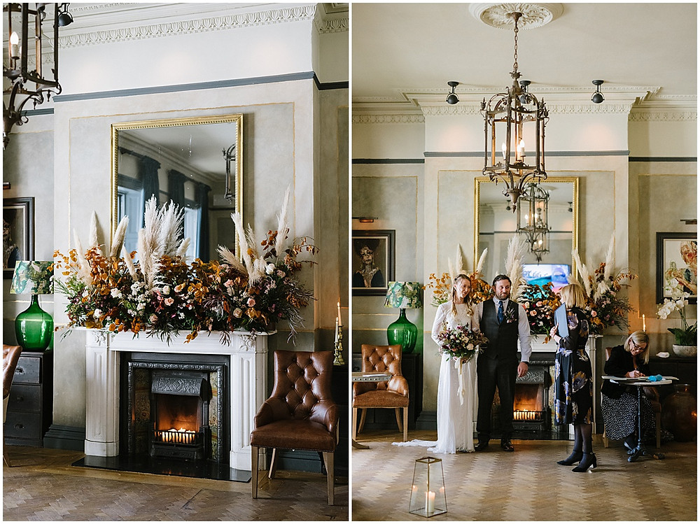 An intimate wedding at luxury wedding venue No131 Cheltenham with pampas grass florals in Autumn