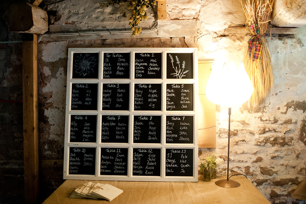 blackboard table plan at Lyde Court barn wedding venue Herefordshire