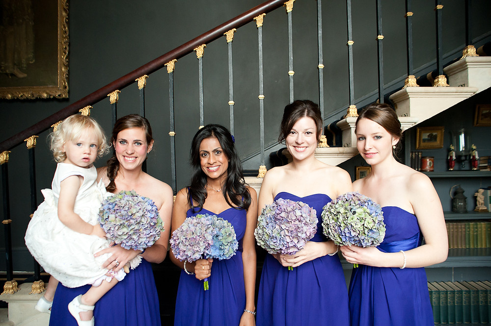 stubton hall wedding bridesmaids in blue