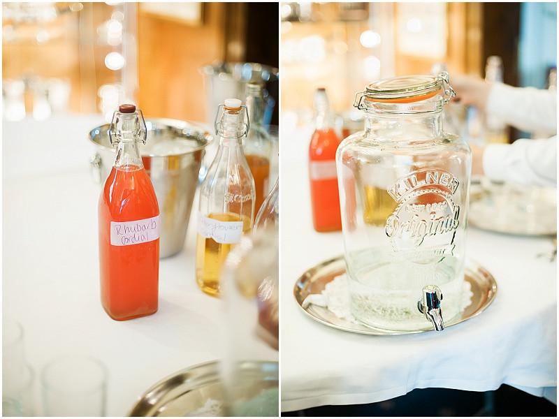 Homemade drinks for a boho wedding