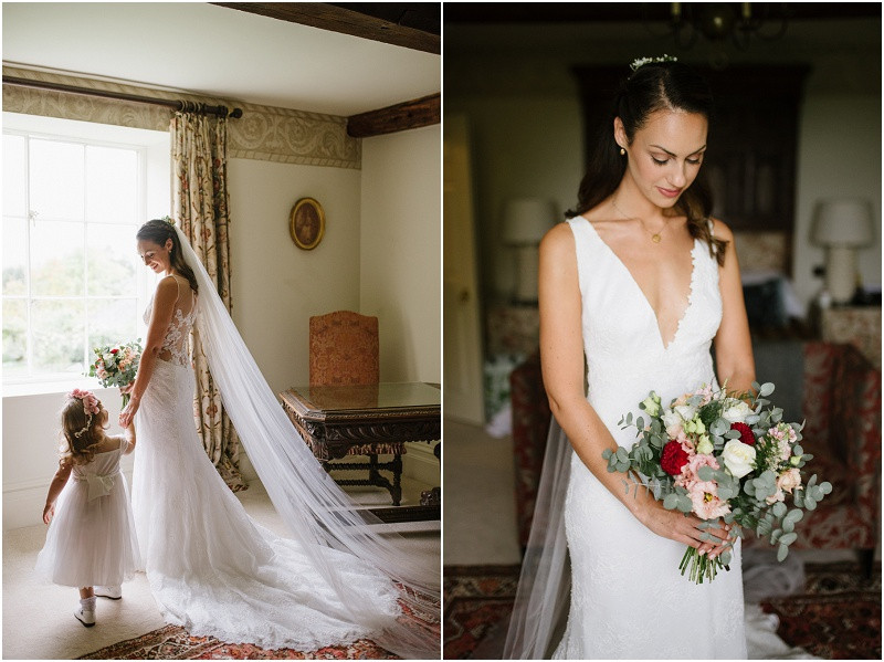An Autumn wedding at Dewsall Court with Cymbeline Paris dressbride with flower girl