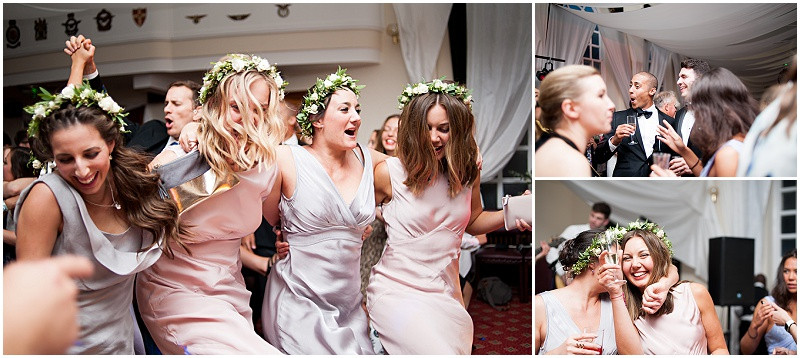 Dancing at A military wedding at Malmesbury Abbey with a Charlie Brear dress and flower crowns