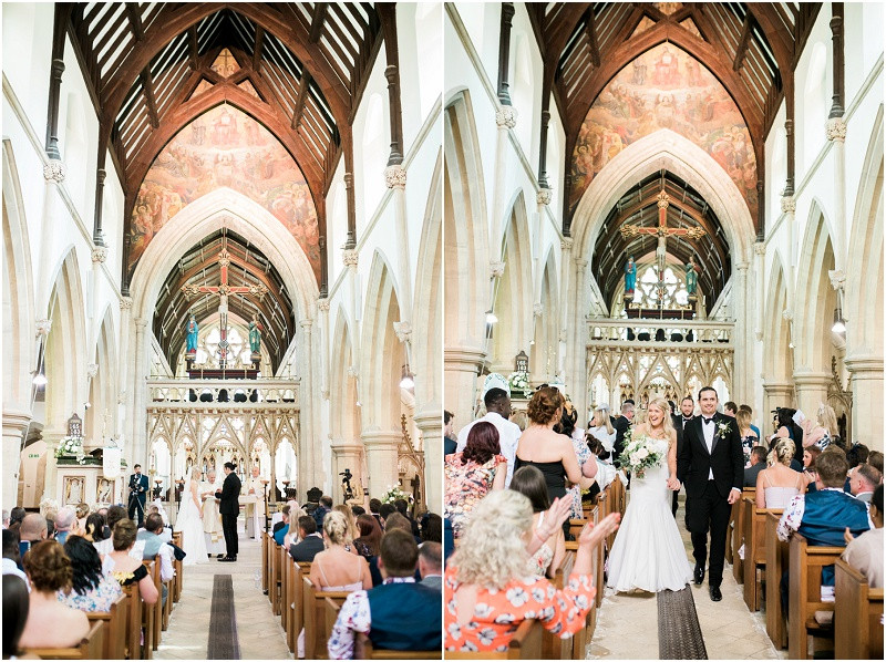 Church ceremony and reception at Great Tythe Barn Cotswolds wedding venue for a black tie wedding