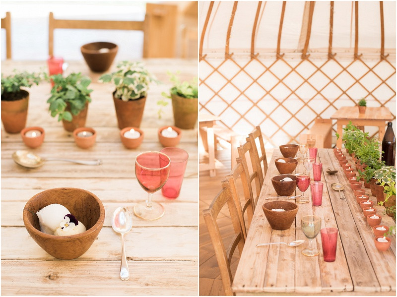 Eco friendly wedding yurt styling with wooden bowls and herbs