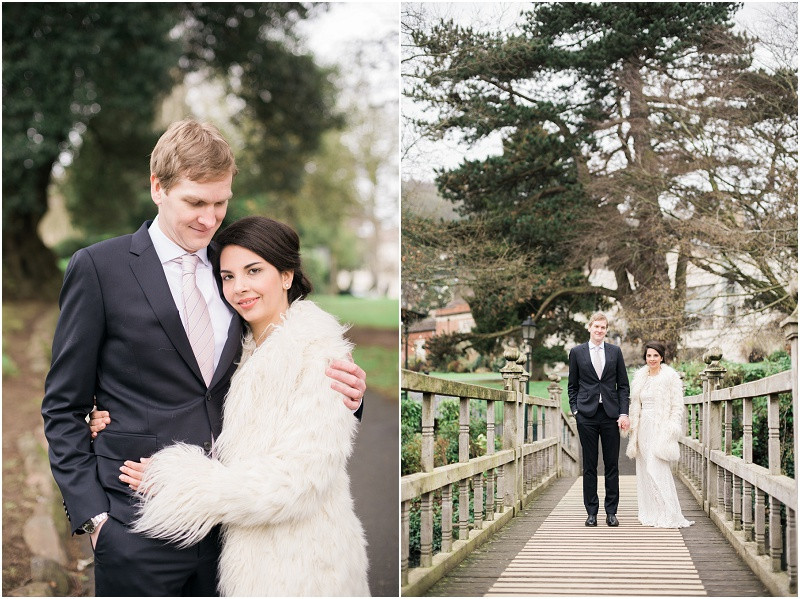 Bride and groom for winter wedding at Malvern Registry Office