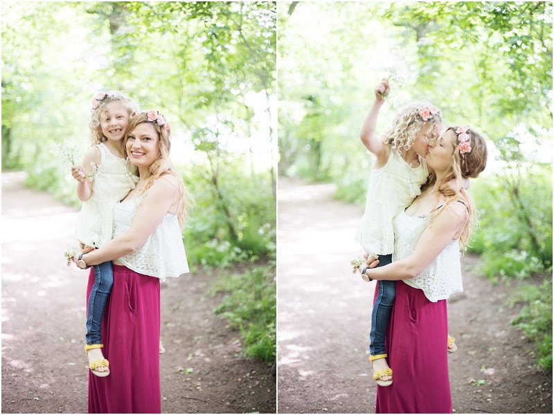 Family photography Cotswolds boho mother and daughter with flower crowns