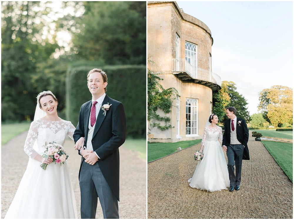 Elegant bride and groom in Suzanne Neville at North Cadbury Court Somerset wedding