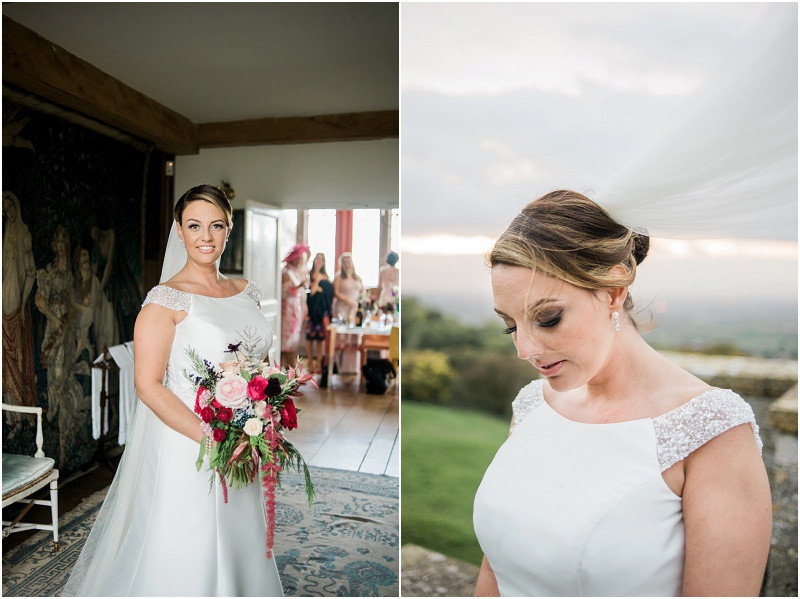 Bride at Hilles House Cotswold marquee wedding Autumn