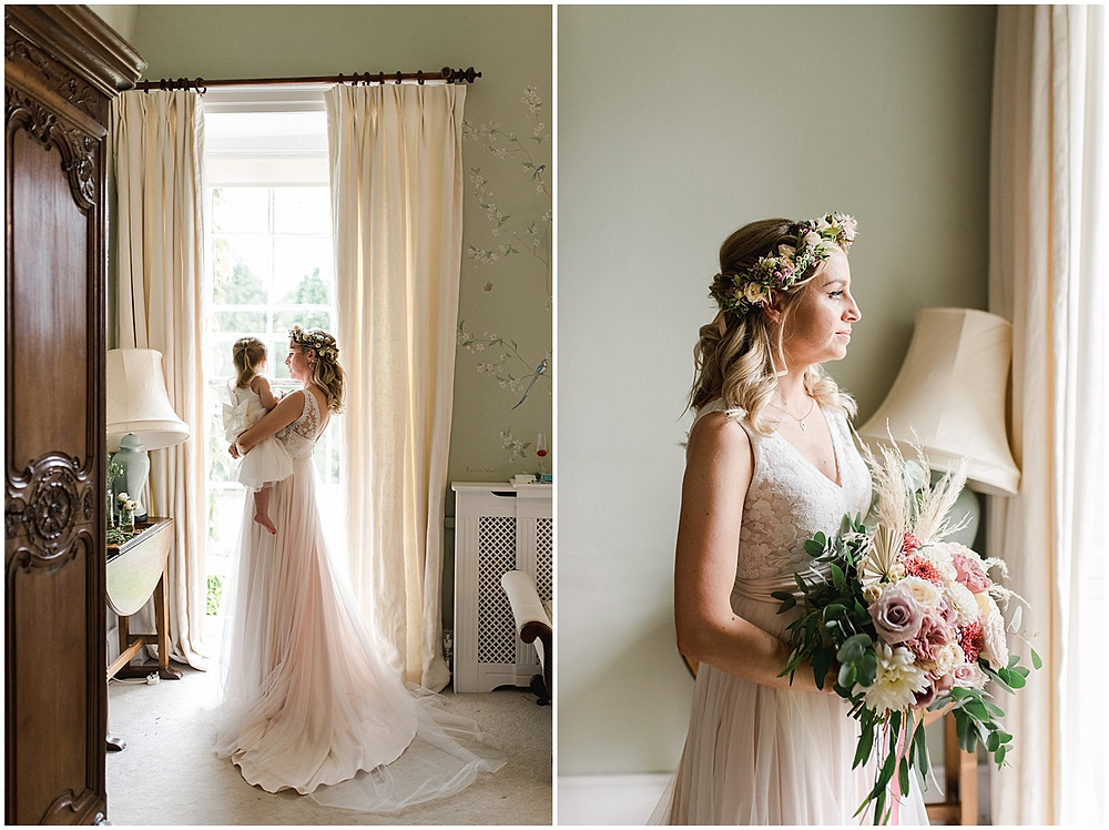 Find lots of luxury wedding inspiration in this dreamy bohemian summer wedding from a Pennard House Wedding Photographer with a bride in a flower crown and lots of pampas grass