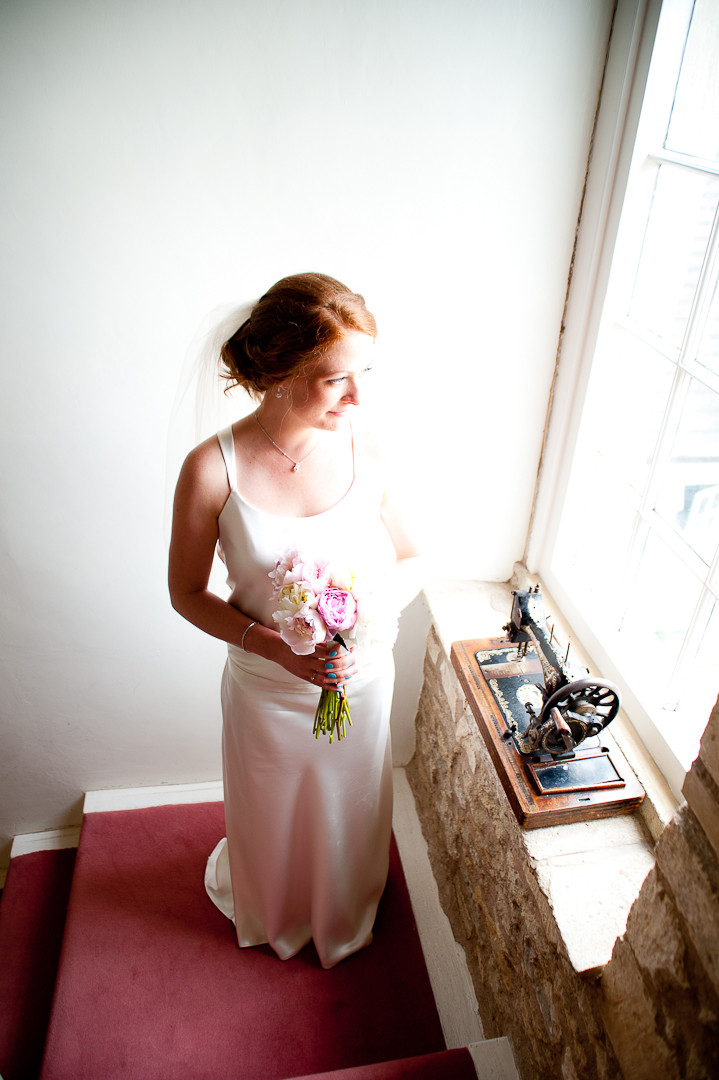 bride with pink peonies
