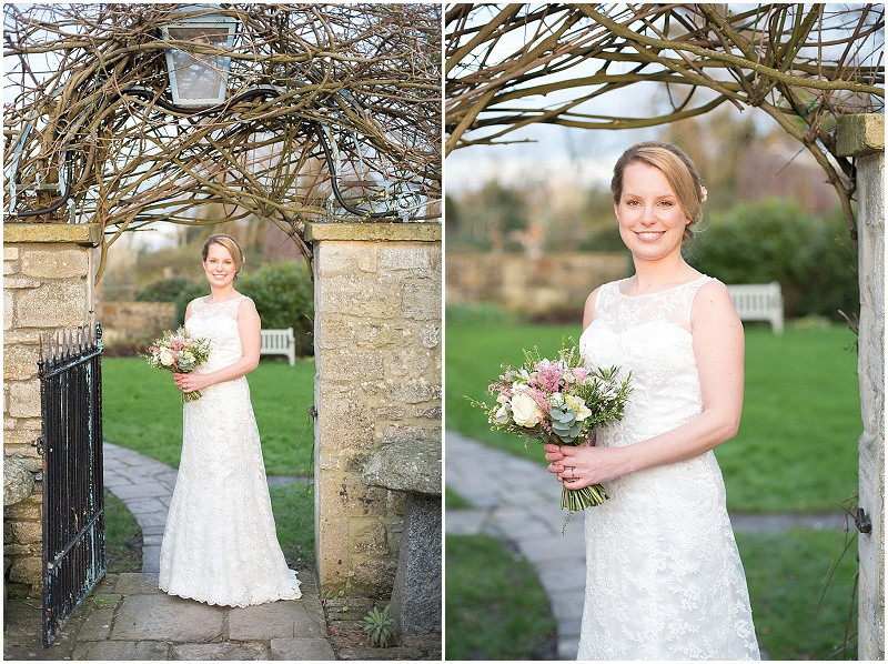 lace wedding dress and pink roses for winter wedding at The Moonraker