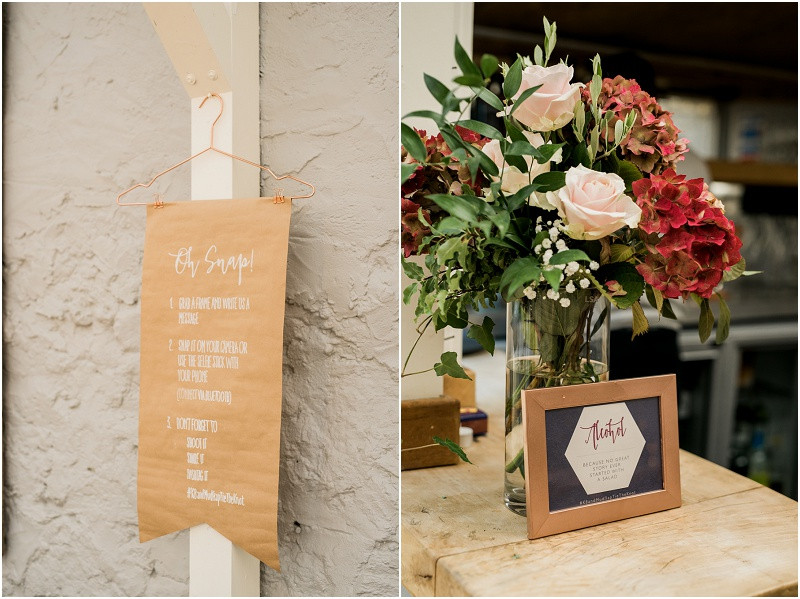 Beach wedding Llys Meddyg Pembrokeshire reception in blush gold and sequins