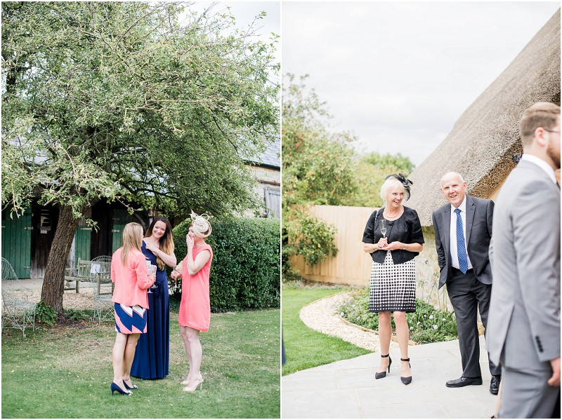 Wedding guests at Blackwell Grange wedding venue by Cotswolds wedding photographer