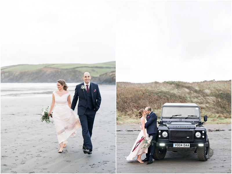 Cotswolds wedding photographer bride in Coast skirt and top and groom on beach wedding in Pembrokeshire