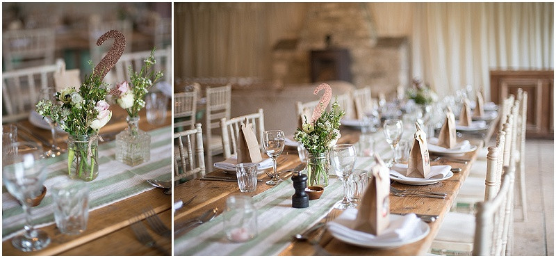 wildflowers in jam jars rustic styling for a winter wedding at The Moonraker Bradford Upon Avon