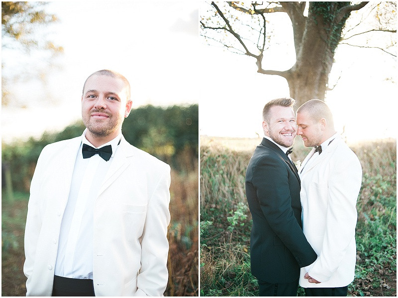 black and white tuxedo's. grooms portraits, gay wedding, The outbuildings, Anglesey