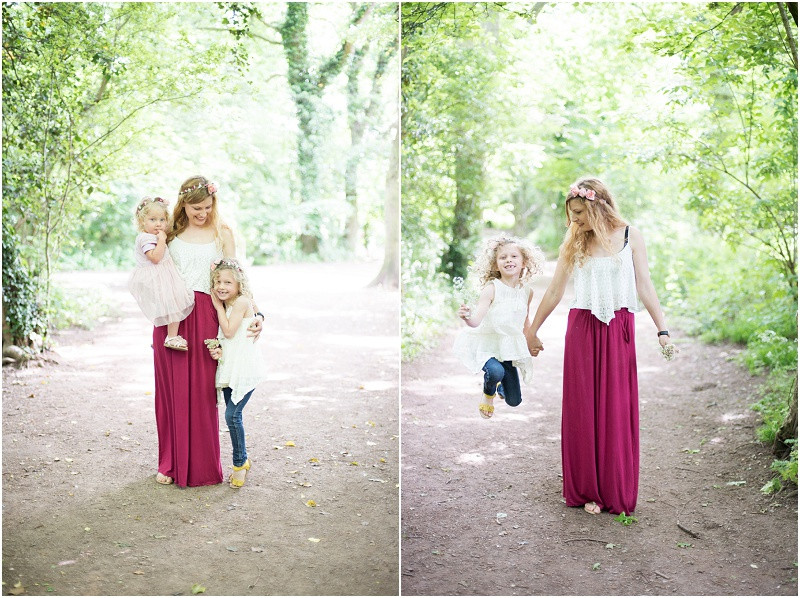 Family photography Cotswolds boho mother and daughter flower crowns