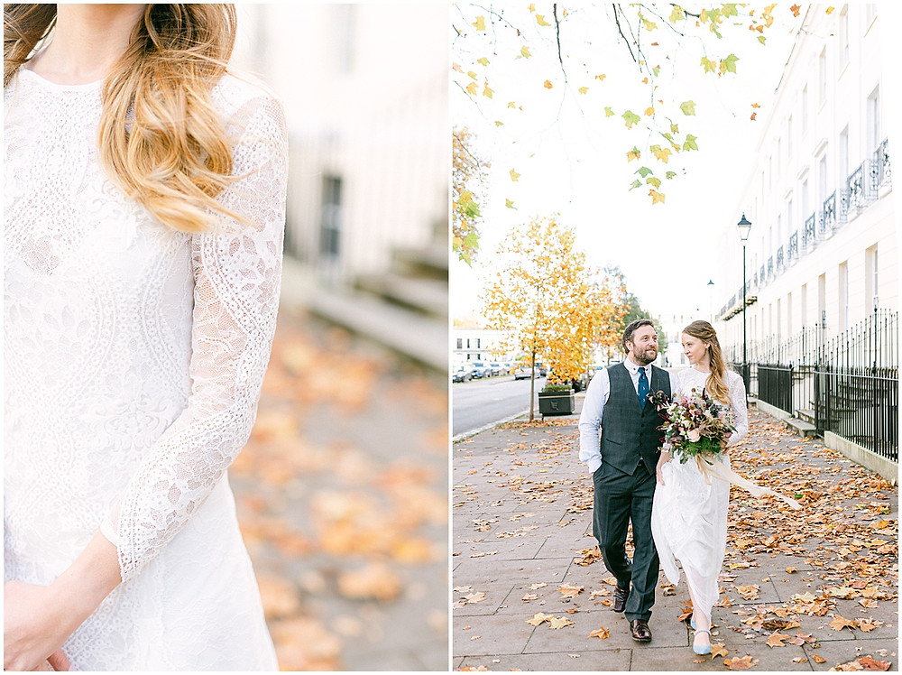An Autumn wedding at luxury wedding venue No131 Cheltenham with a Grace loves Grace dress