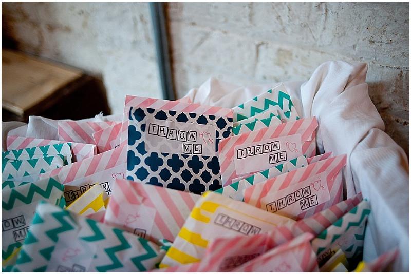 Confetti bags handmade at Brixton East wedding venue London