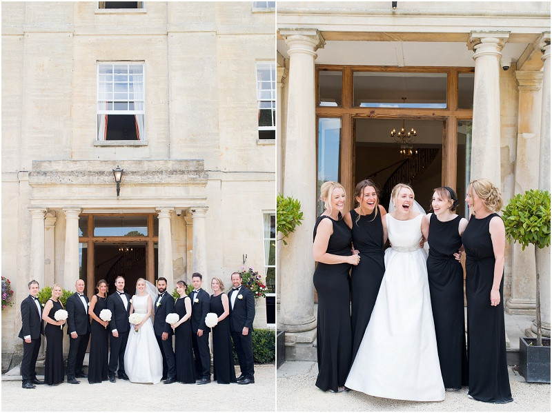 An elegant Cotswolds wedding at Eastington Park with a bride in a Caroline Castigliano wedding dress and black tie