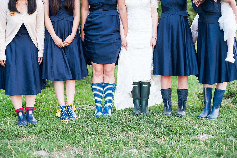 blue bridesmaids in wellies