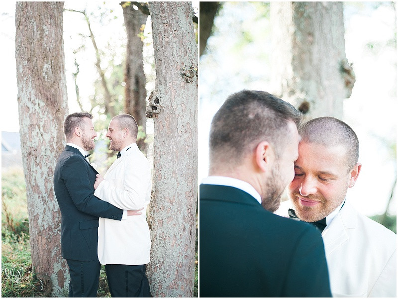 Black and White tuxedo's on grooms for gay wedding at The Outbuildings, Anglesey