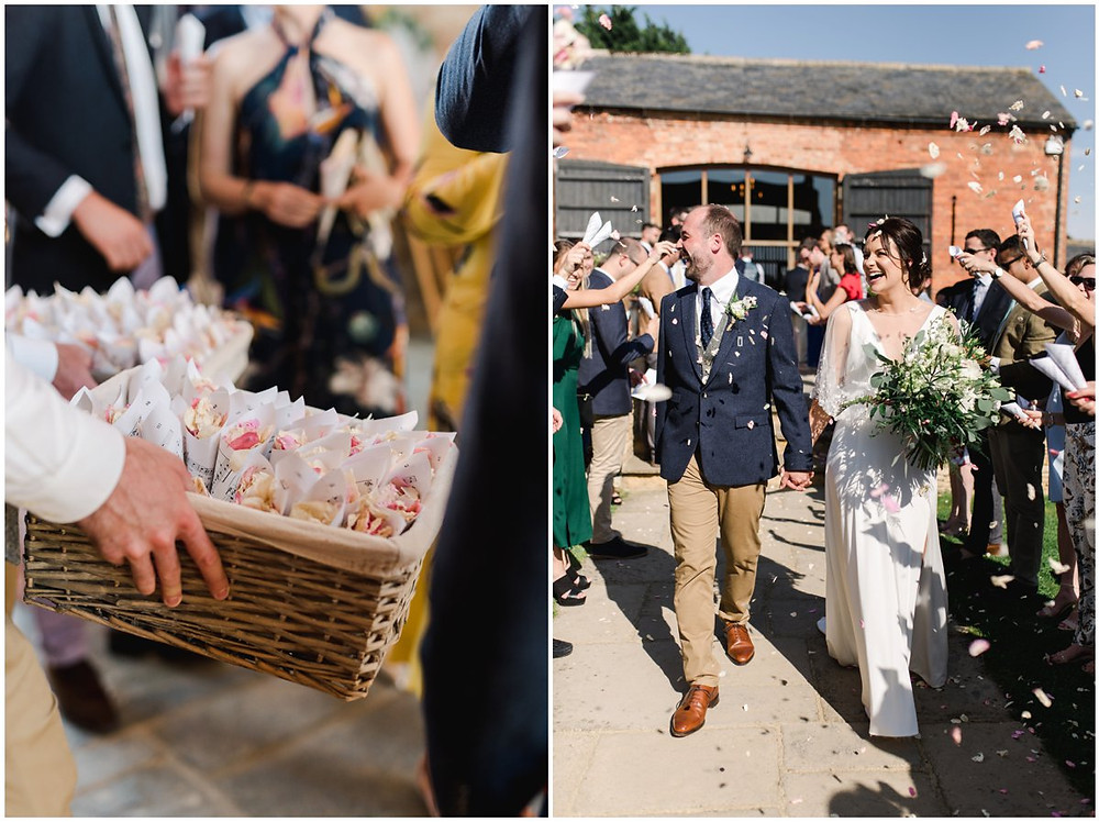 Confetti thrown over smiling bride and groom at Mickleton Hills Farm wedding venue