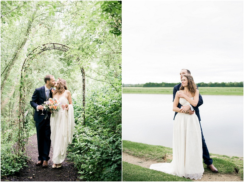 Laid back Cotswolds wedding and The Perch Inn Oxford with a handmade wedding dress and orange bouquet