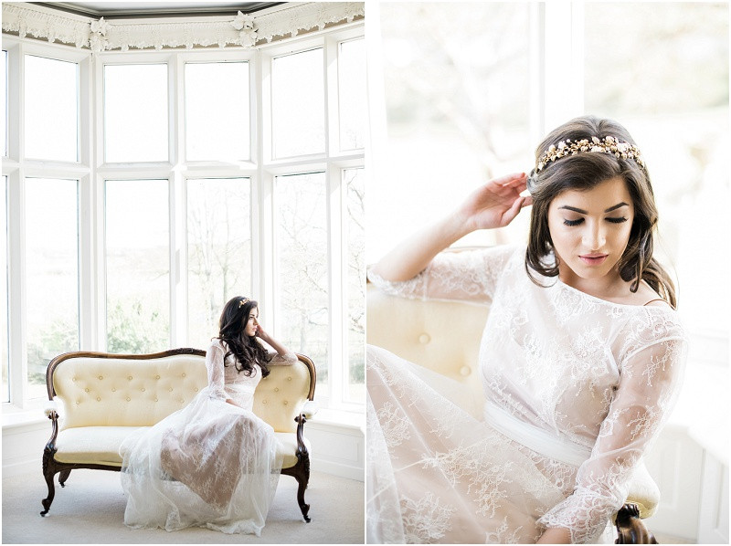 Cotswolds marquee wedding venue white simplicity fine art bride in lace dress at Twyning Park