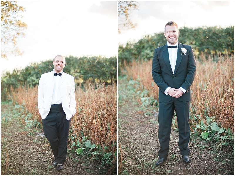 black and white tuxedo's for grooms portraits at gay wedding, The Outbuildings, Anglesey