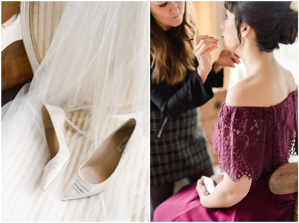 Bride shoes and bridesmaid make up at North Cadbury Court Wedding