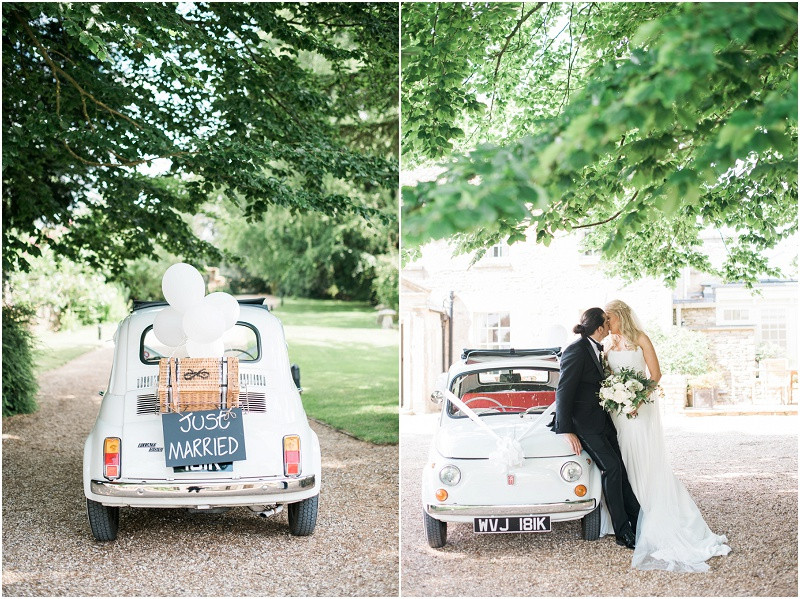 Fiat 500 for a black tie wedding at Great Tythe Barn Cotswolds wedding venue