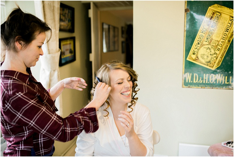 bride getting ready for River Cottage wedding