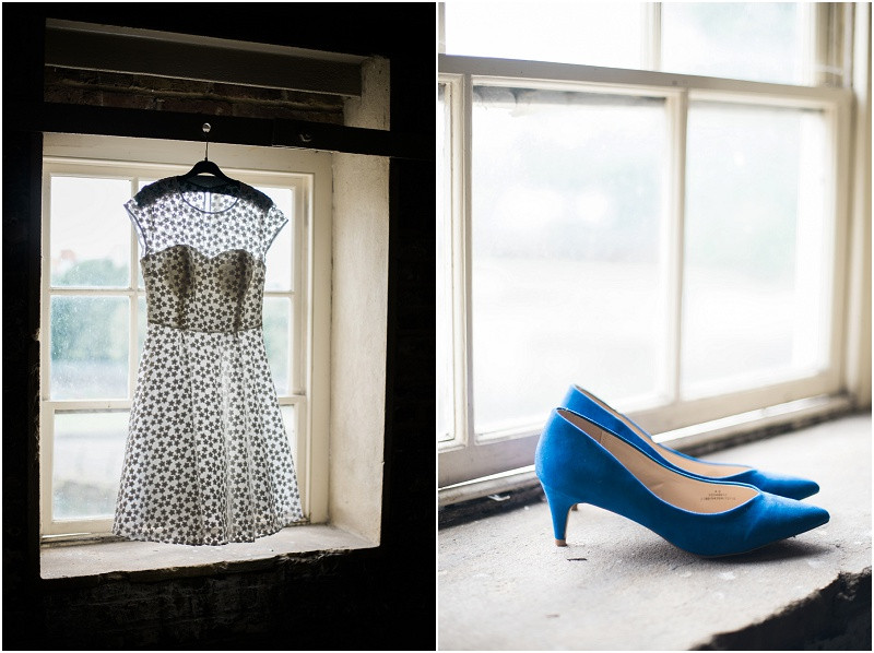 Ted baker dress and blue shoes for a London wedding