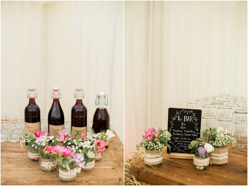 Cotswolds marquee wedding Oxford boho rustic homemade bar