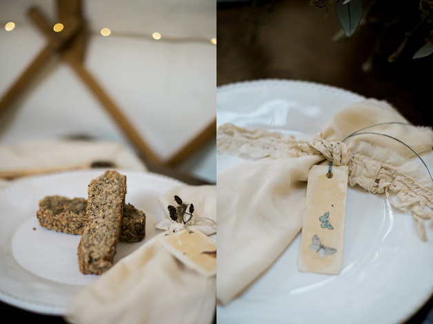 boho wedding styling for an outdoor Cotswolds wedding and gluten free menu