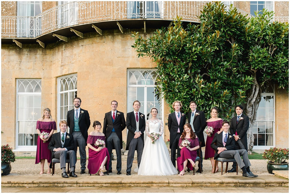 Elegant bridal party large group at North Cadbury Court Somerset wedding